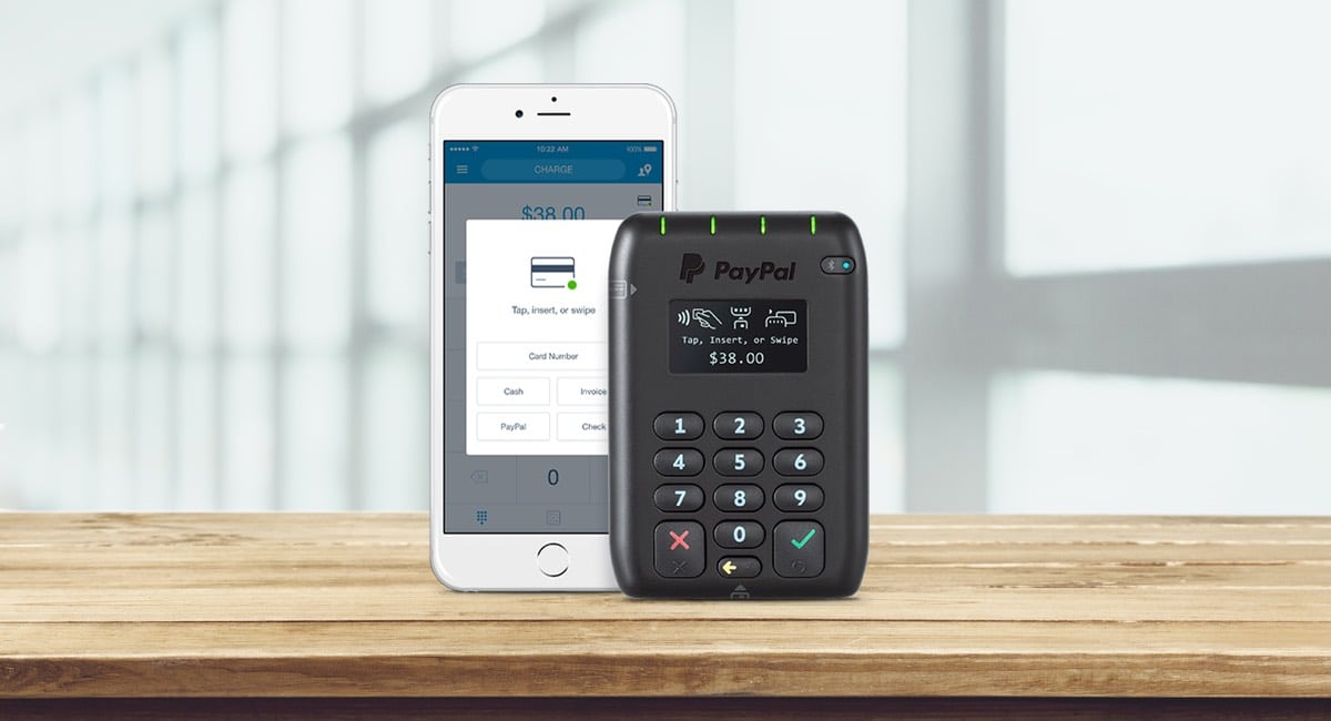 PayPal Here credit card reader with app on an iPhone