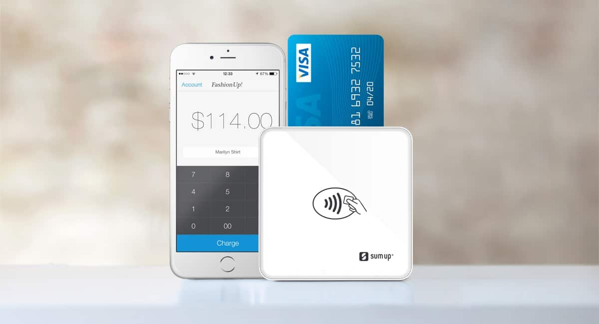 SumUp card reader with app on iPhone
